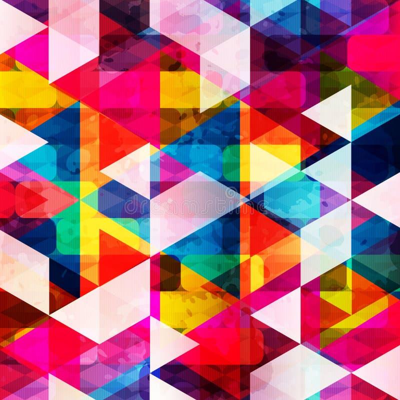Psychodelicznych barwionych wieloboków abstrakta wzoru grunge geometryczna tekstura royalty ilustracja
