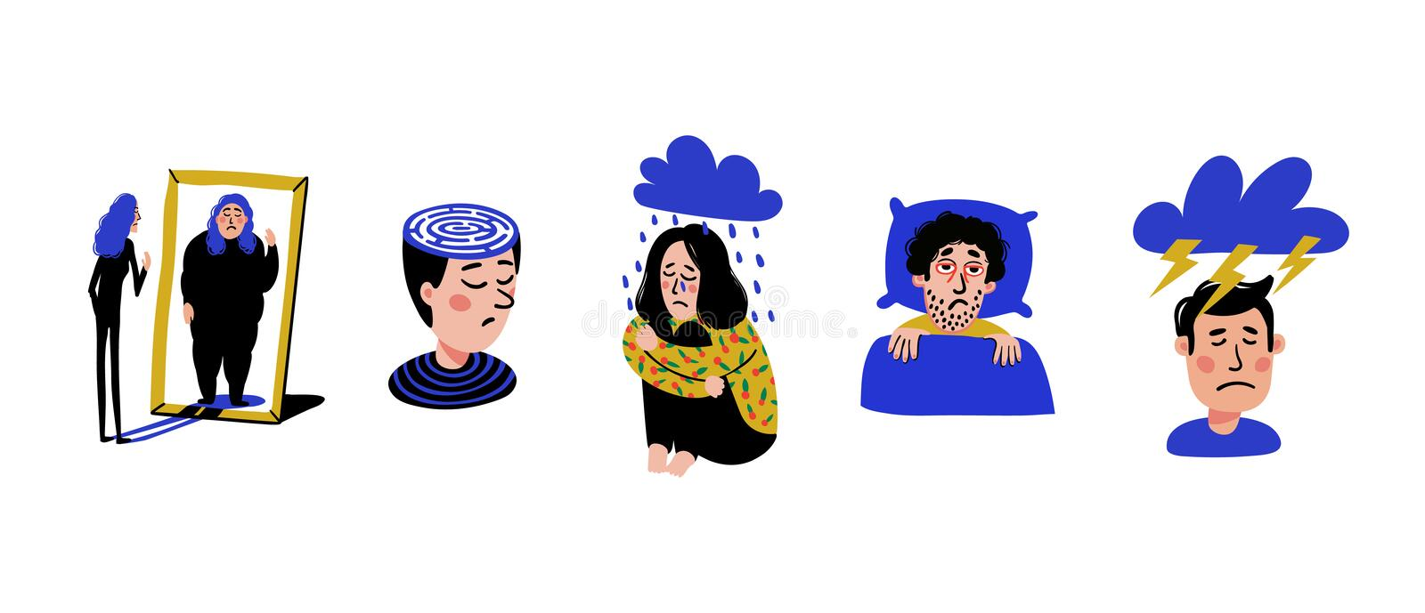 Psycholigy. Set of men and women with psychological problems on white background. Mental disorders, illnesses royalty free illustration