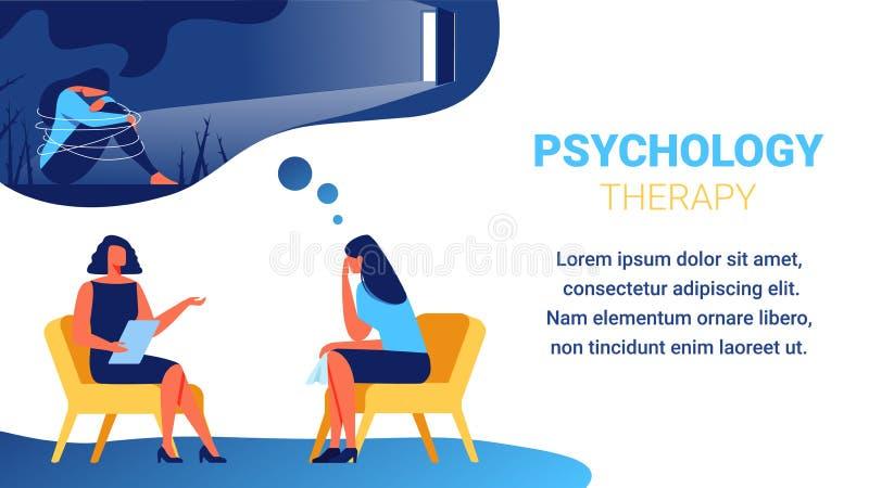 Psycholog blisko kobiety z chusteczką w ręce ilustracja wektor