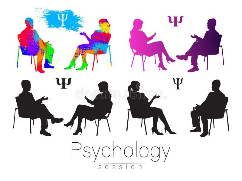 Psycholog i klient psychotherapy Psychiczna lecznicza sesja Psychologiczny doradzać Mężczyzna kobiety opowiadać ilustracji