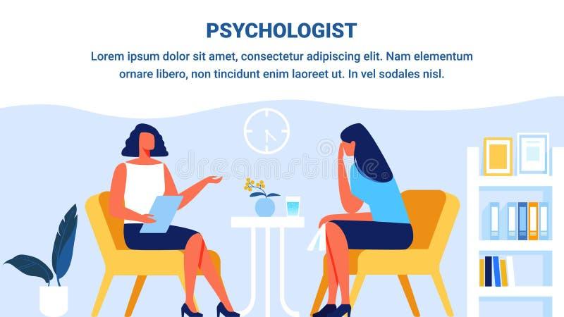 Psychologa i kobiety pacjent w biurze wektor royalty ilustracja