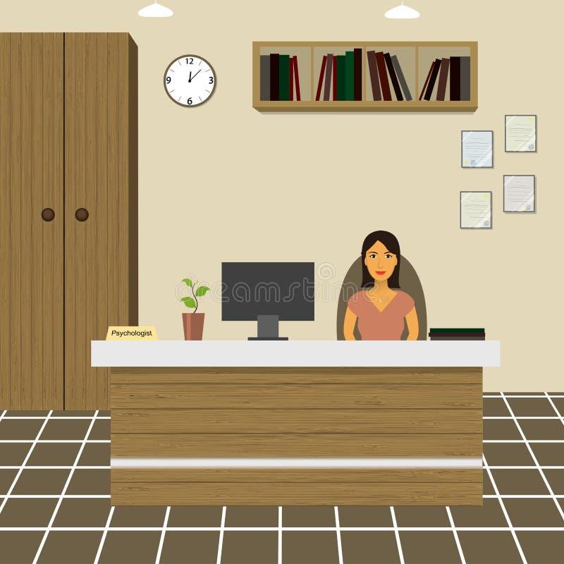 Psychologe - Berater, der an einem Tisch im Büro sitzt lizenzfreie abbildung
