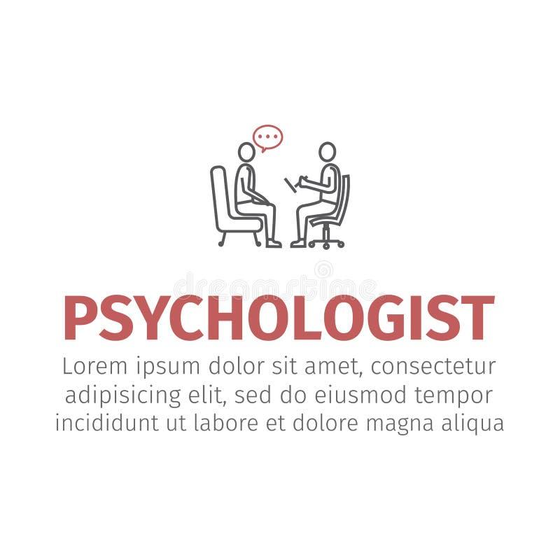 Psychologe, Beratervektorlinie Ikone lizenzfreie abbildung