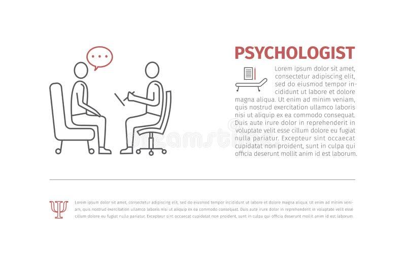 Psychologe, Beratervektorlinie Ikone, Zeichen, lizenzfreie abbildung