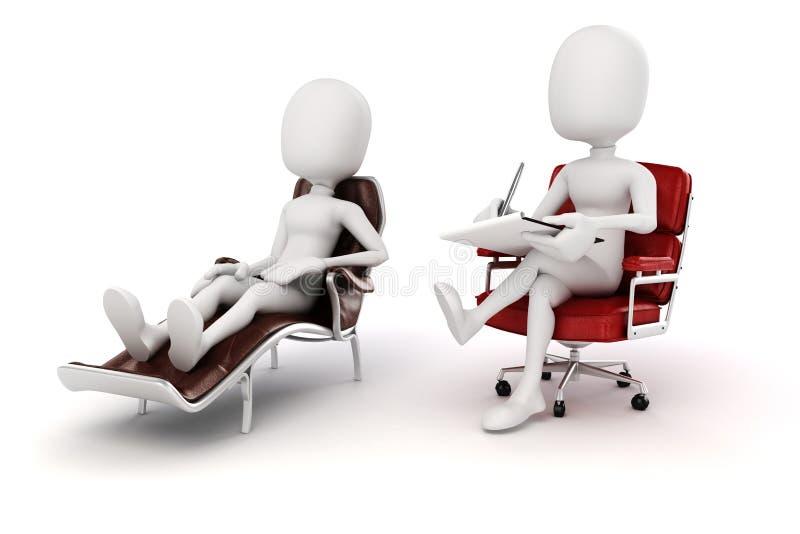 Psychologe und Patient des Mannes 3d stock abbildung