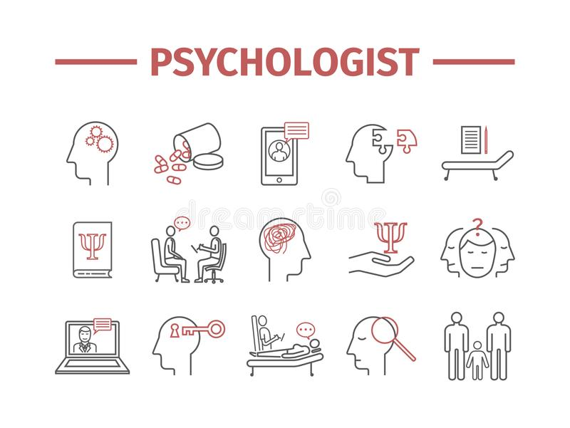 Psychologelinie Ikonen eingestellt Begriffs-infographics Beratung von Psychologie Vektorzeichen für Netzgraphiken stock abbildung