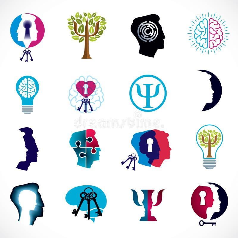 Psychologia, m?zg i zdrowie psychiczne wektorowe konceptualne ikony ustawiaj?cy, logowie lub Zwi?zku i rodzaju psychologii proble royalty ilustracja