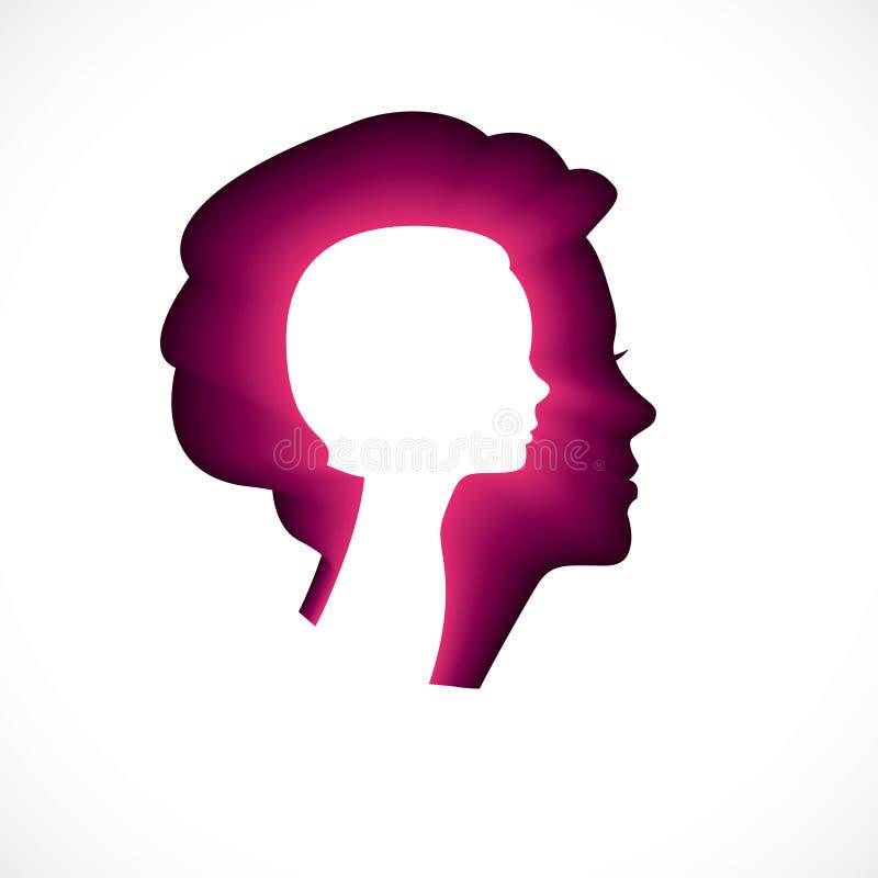 Psychologia, zdrowie psychiczne wektorowy projekt, tworzący z kobiety głową royalty ilustracja