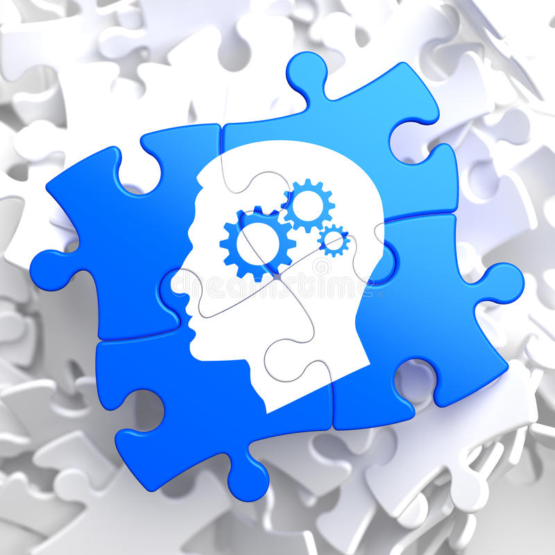Psychological Concept on Blue Puzzle. Psychological Concept - Profile of Head with Cogwheel Gear Mechanism Located on Blue Puzzle royalty free illustration