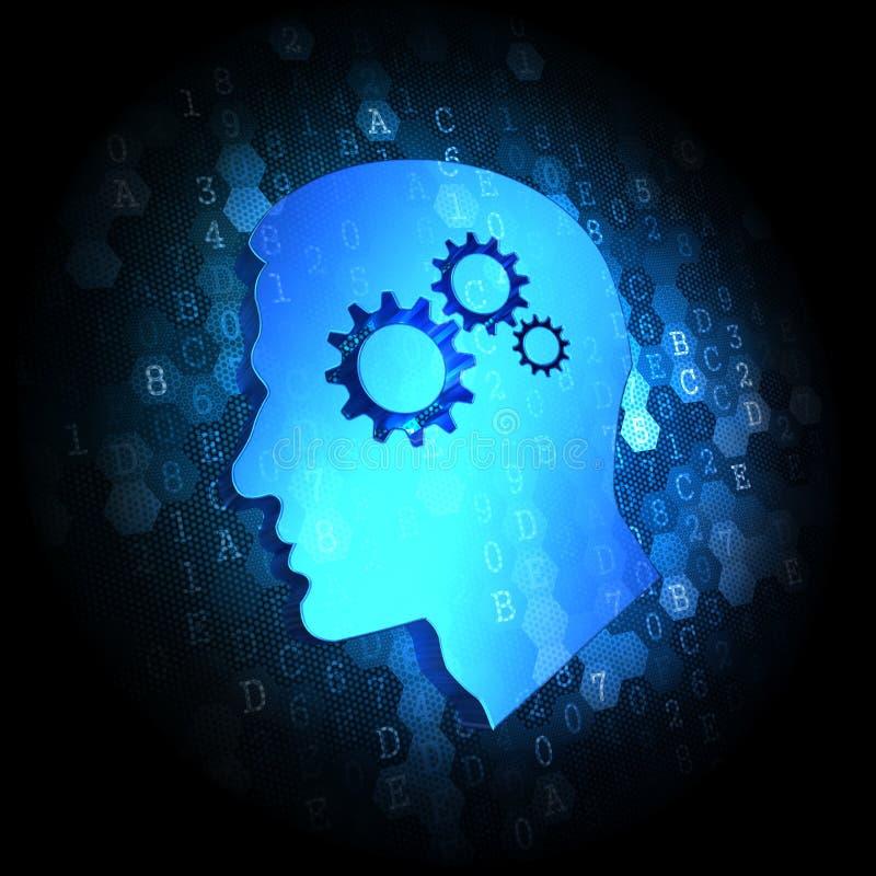Psychological Concept on Digital Background. Psychological Concept on Dark Blue Digital Background stock illustration