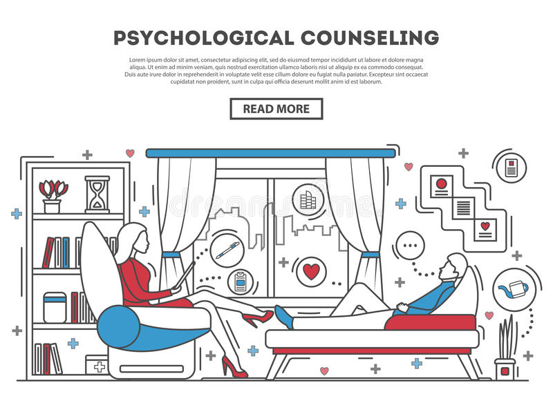 Psychological counseling website template. Vector illustration. Psychologist with patient on sofa. Therapy session in line art style. Mental problem and stress stock illustration