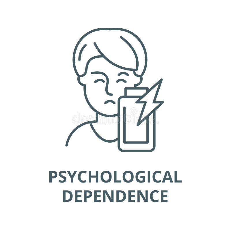 Psychological dependence vector line icon, linear concept, outline sign, symbol. Psychological dependence vector line icon, outline concept, linear sign stock illustration