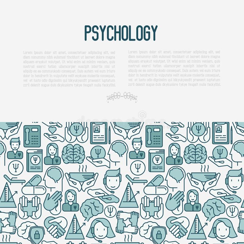 Psychological help concept with thin line icons. Vector illustration for web page, banner, print media vector illustration