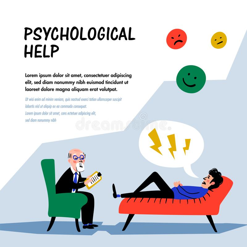 Psychological help. Doctor and patient, a man lying on sofa and talking to therapist. Web banner on theme of psychology. Mental problems, disorders and phobias royalty free illustration