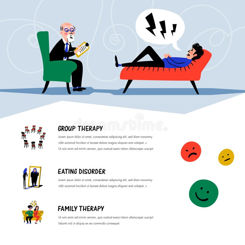 Psychological help. Doctor and patient, a man lying on sofa and talking to therapist. Web banner on theme of psychology. Mental problems, disorders and phobias stock illustration