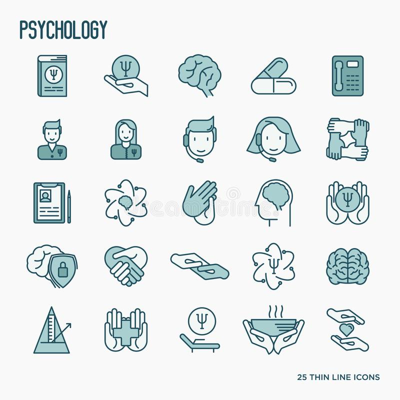 Psychological help thin line icons set. Psychological help thin line icons: psychologist, brain, support, chair, four hands. Vector illustration stock illustration