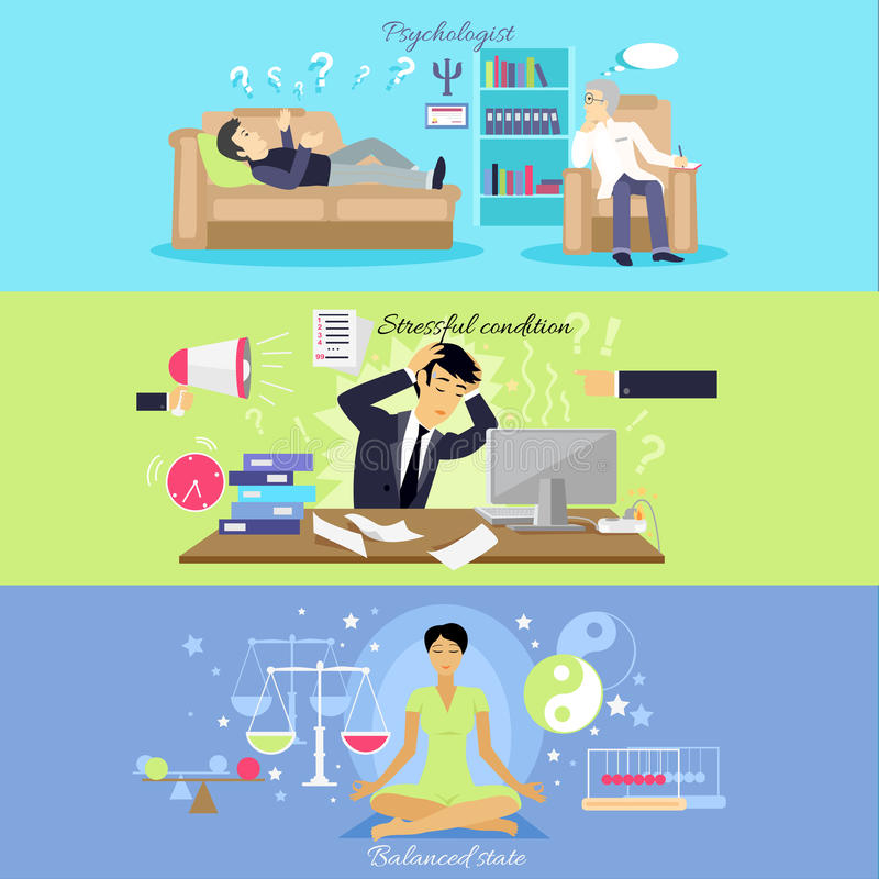 Psychological Human Mental Balance. Psychologist and stressfull condition state, mental emotion, psychology health, personality disorder, stress and depression vector illustration