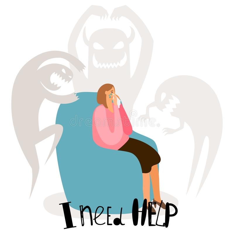 Psychological problems, mental disorders vector concept with crying woman and fear ghosts. Mental problem character, stress and depression illustration stock illustration
