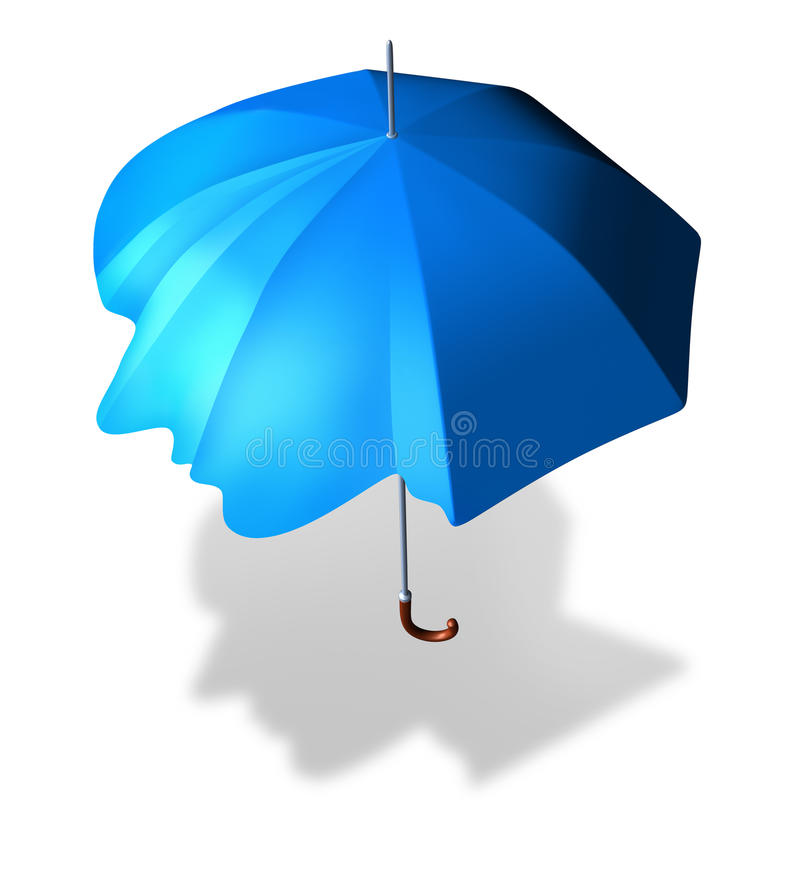 Psychological Protection. And antisocial personality disorder concept as an umbrella shaped as a human head as a metaphor and medical symbol for living a lonely stock illustration