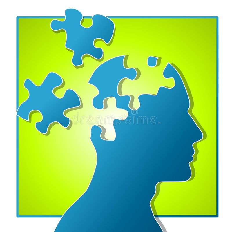 Psychological Puzzle Pieces stock illustration