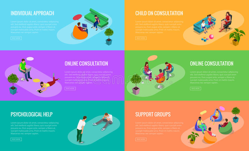 Psychological therapy concept. Coach and support group in individual during psychological therapy. Flat isometric vector. Illustration stock illustration