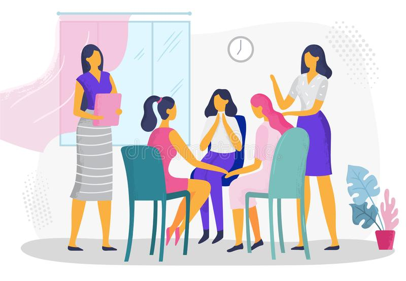 Psychological therapy for women. Female psychotherapeutic support group, domestic family violence problems counseling. Psychologist doctor mental treatment stock illustration