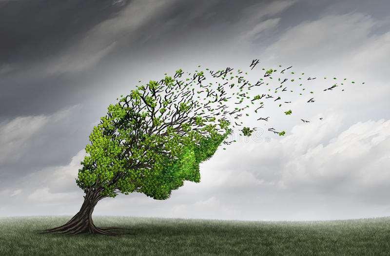 Psychological Trouble. And mental health adversity crisis as a tree shaped as a human head being torn or stressed by strong winds as a psychiatry or psychology vector illustration