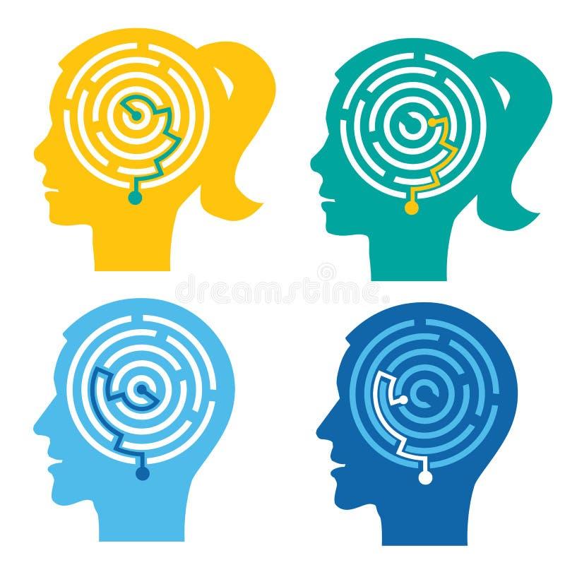 Psychologiczny test, labitynt w głowach royalty ilustracja