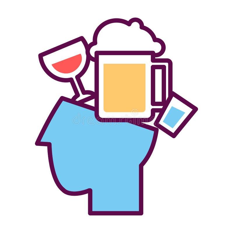 Psychologie abstract conceptueel symbool van vector menselijke hoofd en alcohol stock illustratie