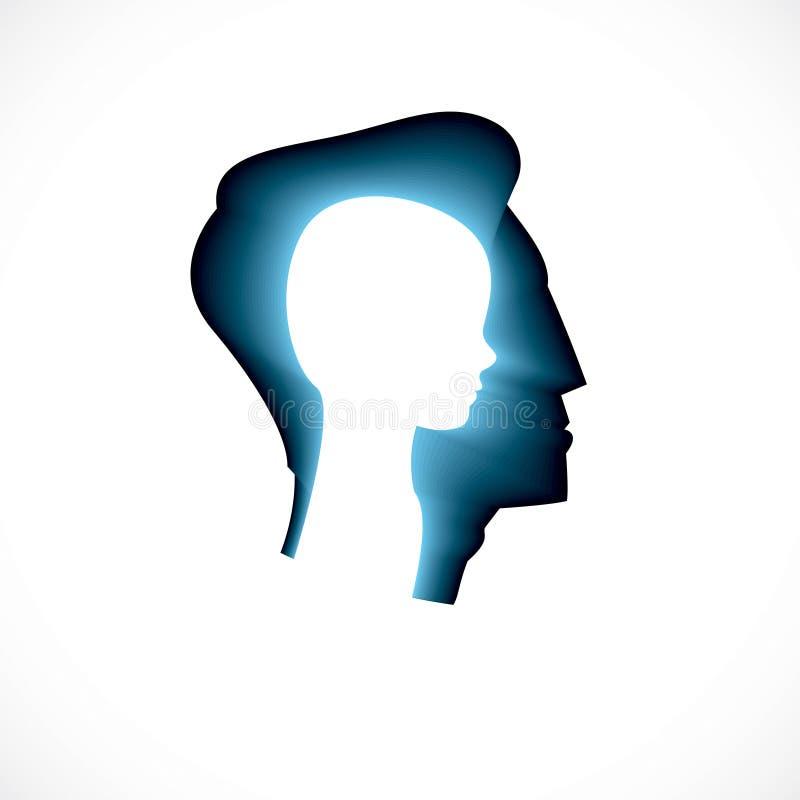 Psychologie, conception de vecteur de santé mentale, créée avec la tête p de l'homme illustration de vecteur