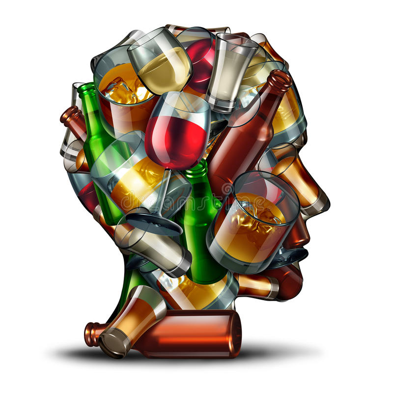Psychologie d'alcool illustration stock