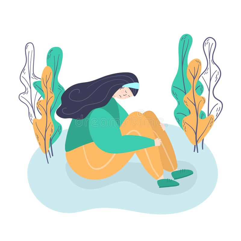 psychologie d?pression Fille triste et malheureuse, s'asseyant sur la jeune femme de plancher dans la dépression étreignant ses g illustration de vecteur