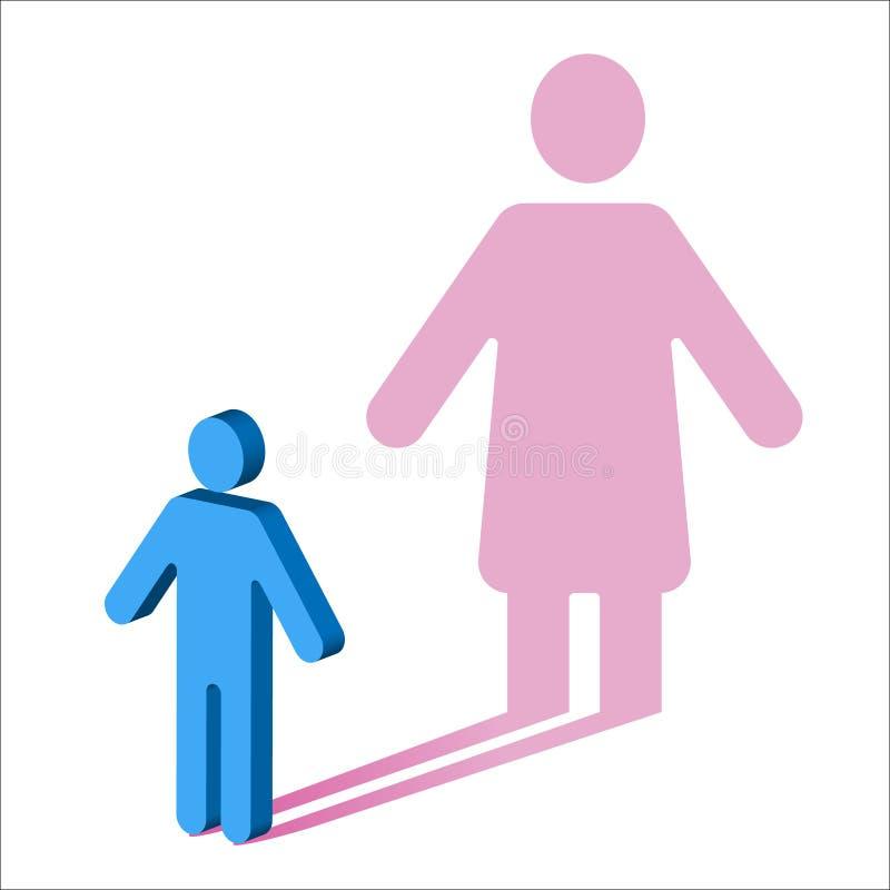Psychologie-geslacht identiteit-Mannetje aan Wijfje vector illustratie