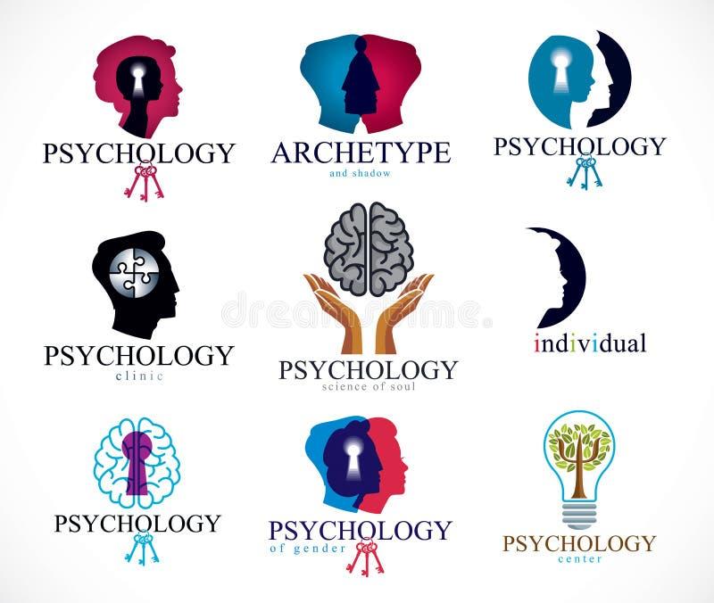 Psychologie, menschliches Gehirn, Psychoanalyse und Psychotherapie, relat vektor abbildung