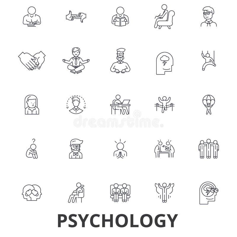 Psychologie, psychologue, conseillant, essai, thérapie, cerveau, sociologie, ligne icônes d'esprit Courses Editable Conception pl illustration libre de droits