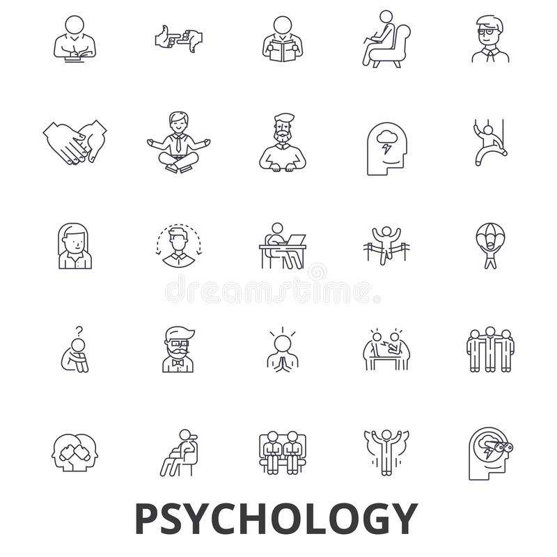 Psychologie, psycholoog, het adviseren, test, therapie, hersenen, sociologie, de pictogrammen van de meningslijn Editableslagen V royalty-vrije illustratie