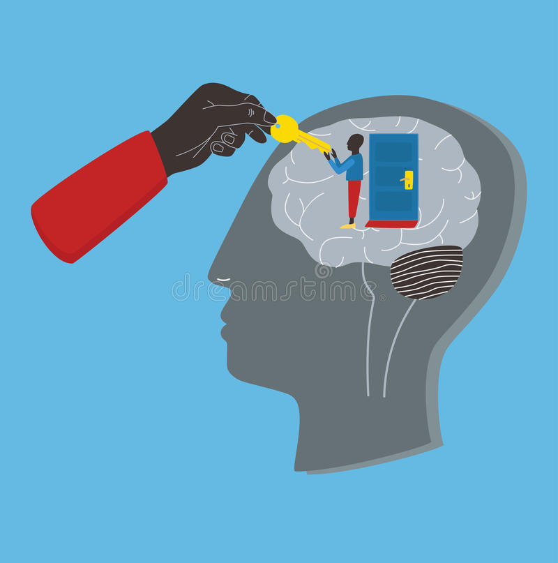 Psychologie, psychothérapie, concept curatif mental Clé à subconscient, âme, esprit Illustration colorée de vecteur dans l'appart illustration libre de droits