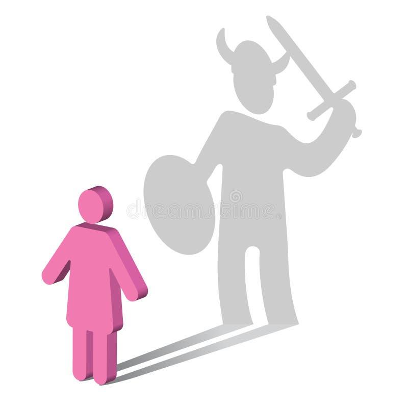 Psychologie-starker Frau-Walter Mitty Syndrom-Viking-weiblich lizenzfreie abbildung