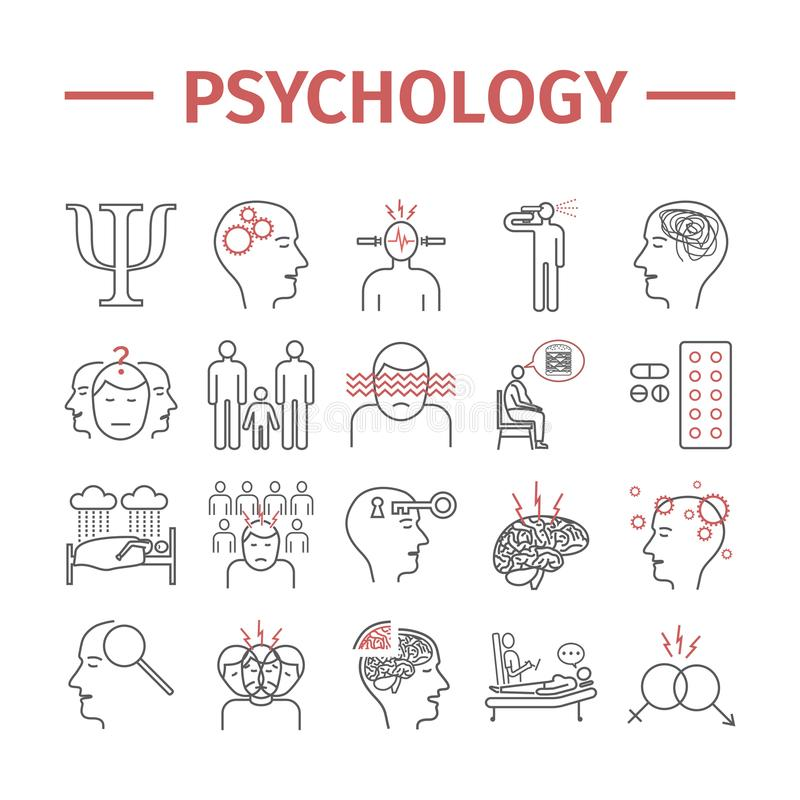 Psychologielinie Ikonen eingestellt Psychische Gesundheiten Infographic Vektorzeichen für Netzgraphiken stock abbildung