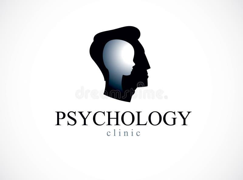 Psychologievektorlogo wenig geschaffen mit Mannkopfprofil und stock abbildung