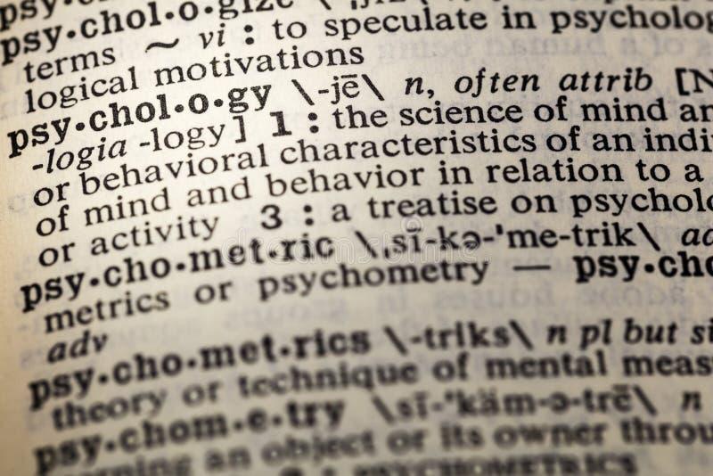 Psychologiewissenschafts-Sinneswörterbuch druckte stockbild