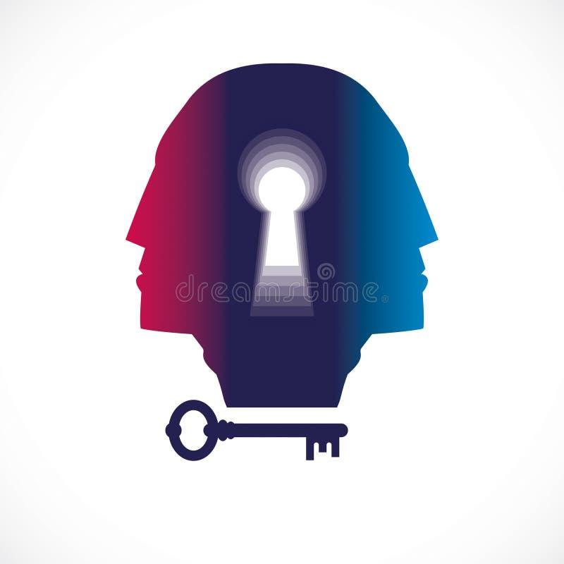 Psychologii i zdrowie psychiczne pojęcie, tworzący z dwoistym mężczyzna głowy profilem i keyhole jako klucz natura ludzka, psycho ilustracja wektor
