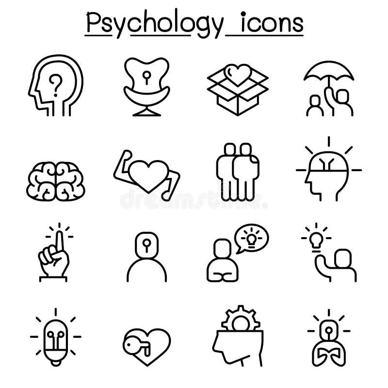 Psychologii ikona ustawiająca w cienkim kreskowym stylu ilustracji