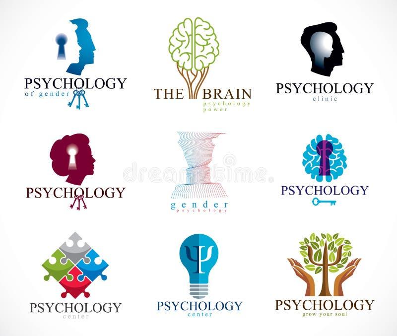 Psychologii, ludzkiego m?zg, psychoanalizy, psychotherapy, zwi?zku i rodzaju problemy, osobowo?? i indywidualno??, ilustracja wektor