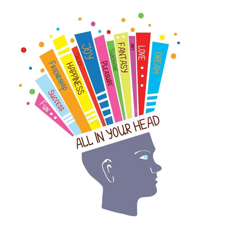 Psychologii pojęcie z optymistycznie uczuciami i pozytywnym główkowaniem ilustracja wektor