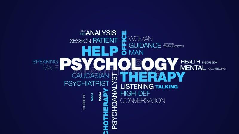 Psychologii terapii pomocy psychologa biurowej psychiatrii terapeuta rada psychotherapy żeński profesjonalista animował słowo obrazy stock