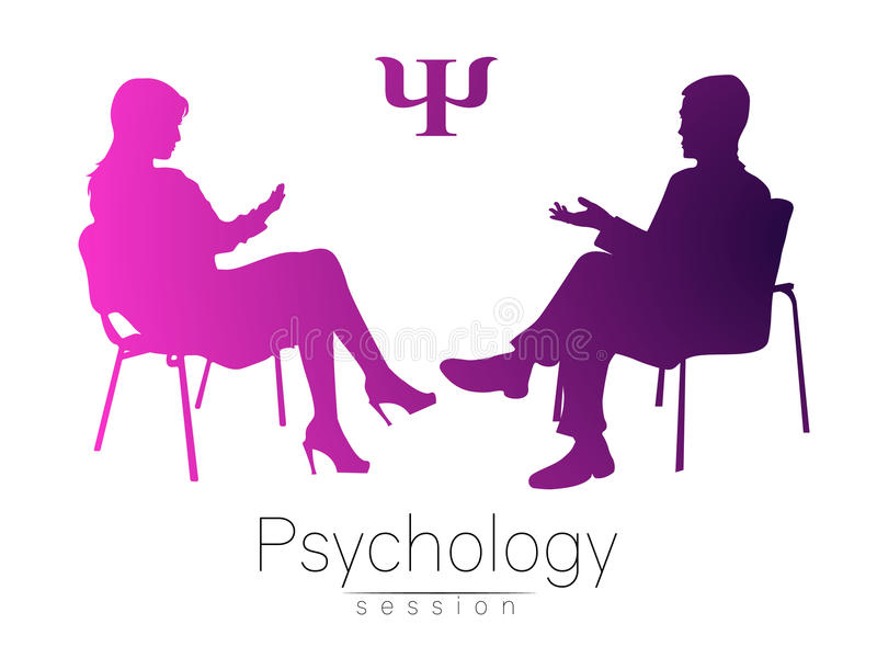 The psychologist and the client. Psychotherapy. Psycho therapeutic session. Psychological counseling. Man woman talking. While sitting. Pink violet gradient stock illustration