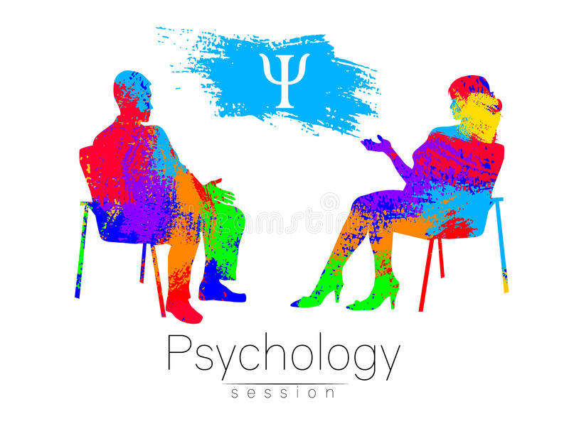 The psychologist and the client. Psychotherapy. Psycho therapeutic session. Psychological counseling. Man woman talking. While sitting. Silhouette.Rainbow brush vector illustration