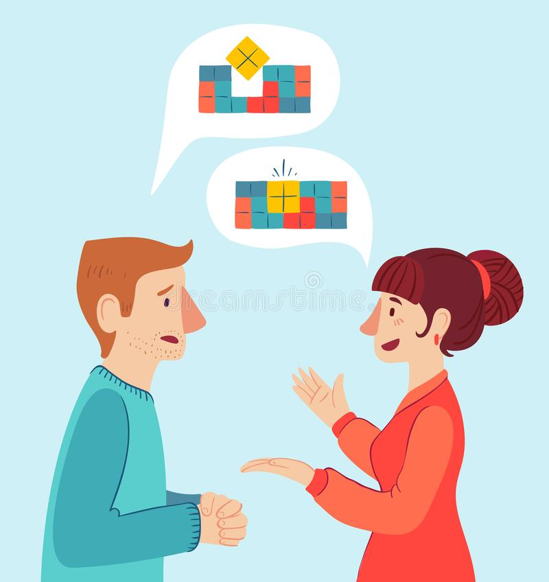 The psychologist and the client. Psychotherapy. Vector illustration. Man and woman talking to find the solution. The psychologist and the client. Psychotherapy vector illustration