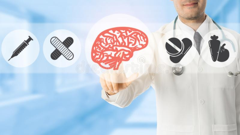 Psychologist Doctor Pointing at Brain Symbol Icon royalty free illustration